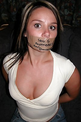 and taped mouth gagged ball Girl